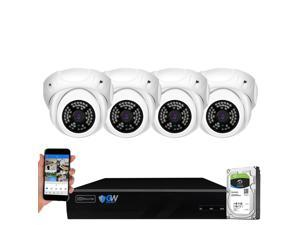 GW Security 8 Channel 5MP H.265 NVR IP Camera Network PoE Video & Audio Surveillance System (1TB HDD), 4 x HD 1920P Weatherproof Microphone Turret Security Cameras, AI Human Detection
