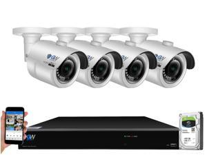 GW 4K UltraHD 8MP Smart AI Face Recognition Human/Vehicle Detection Security Camera System, 8-channel H.265 UHD 4K NVR, 4 x 4K 8 Megapixel Waterproof Bullet PoE IP Cameras, 2TB HDD