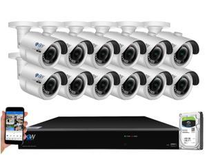 GW 4K UltraHD 8MP Security Camera System, 16-channel H.265 UHD 4K NVR, 12 x 4K 8 Megapixel Waterproof Bullet PoE IP Cameras, Smart AI Face Recognition Human/Vehicle Detection, 4TB HDD