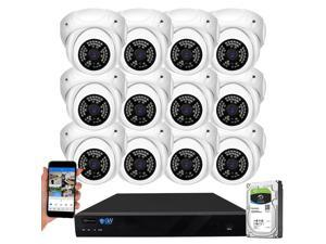 GW Security 16 Channel 5MP H.265 NVR IP Camera Network PoE Video & Audio Surveillance System (4TB HDD), 12 x HD 1920P Weatherproof Microphone Turret Security Cameras, AI Human Detection