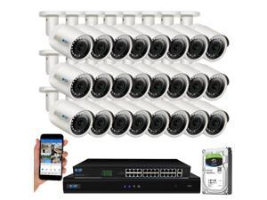 GW Built-in microphone PoE IP Security System, 32CH 4K H.265 NVR with 24x 5MP 1920P IP Camera, Day/Night Weather Proof, Video Audio Power All Thru One Ethernet Cable, 8TB