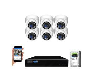 GW Security 8 Channel 4K NVR 5MP Smart AI Human Detection Security Camera System with (6) x IP PoE 5MP 1920P Outdoor/Indoor Microphone Dome Cameras 100 Feet Night vision, Free Remote Viewing