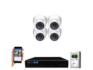 GW Security 8 Channel 4K NVR 5MP Smart AI Human Detection Security Camera System with (4) x IP PoE 5MP 1920P Outdoor/Indoor Microphone Dome Cameras 100 Feet Night vision, Free Remote Viewing