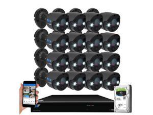 GW Security 2-Way Audio Floodlight 5.0 Megapixel PoE Security Camera System, 16 Channel 4K NVR with 16 x 5MP Full-time Color Night Vision IP Camera, Thermal PIR Heat & Motion Sensing, Two Way Talk