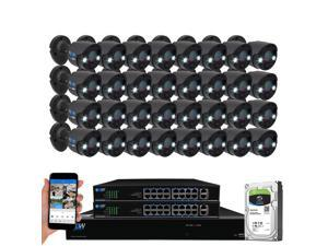GW Security 2-Way Audio Floodlight 5.0 Megapixel PoE Security Camera System, 32 Channel 4K NVR with 32 x 5MP Full-time Color Night Vision IP Camera, Thermal PIR Heat & Motion Sensing, Two Way Talk
