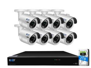 GW 4K UltraHD 8MP Security Camera System, 8-channel H.265 UHD 4K NVR, 8 x 4K 8 Megapixel Waterproof Bullet PoE IP Cameras, Smart AI Face Recognition Human/Vehicle Detection, 2TB HDD