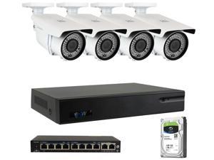 GW 8 Channel H.265 4K NVR 5MP 1920P 2.8~12mm Lens, Video Plug & Play IP Security System - 4 x POE 5MP Weatherproof IP Cameras (2TB Hard Drive Included)