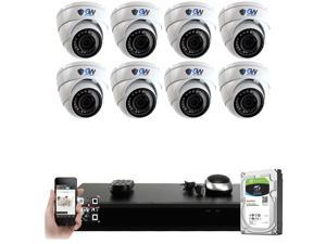 GW PoE IP Built-in microphone Security System, 8 Channel 4K H.265 NVR w/ 2TB HDD, (8) PoE IP 5MP Outdoor Weatherproof Security Camera for 24/7 Recording & Remote Home Monitoring System