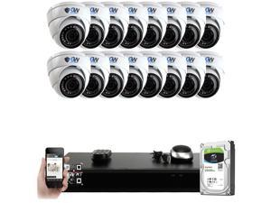 GW PoE IP Built-in microphone Security System, 16 Channel 4K H.265 NVR w/ 2TB HDD, (16) PoE IP 5MP Weatherproof Security Camera for 24/7 Recording & Remote Home Monitoring System