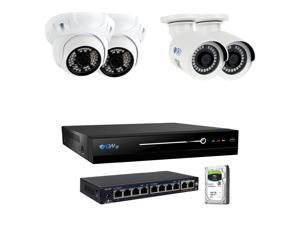 GW 8 Channel H.265 HEVC NVR w/ 4K HDMI Output 5MP Security System, 4 x HD 5MP IP PoE Camera (2592 x 1920p) In/Outdoor Digital WDR - 5 Megapixel (More Pixels Than 1080P, 300% More Detailed Than 720P)