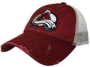 Colorado Avalanche Retro Brand Red Worn Mesh Vintage Adj Snapback Hat Cap beab103e9