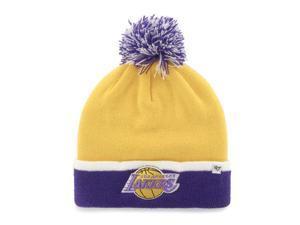 fd14f7bd03c Los Angeles Lakers 47 Brand Yellow Purple Baraka Retro 1967 Poof Beanie Hat  Cap