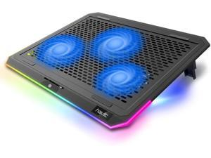 havit RGB Laptop Cooling Pad for 15.6-17 Inch Laptop with 3 Quiet Fans and Touch Control, Pure Metal Panel Portable Cooler