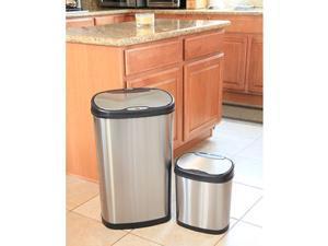 Nine Stars Sensor Trash Can Combo, Stainless Steel 13gal + 3.2gal