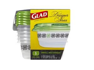 Glad Food Storage Containers, Designer Series, Small Rectangle, 9 Ounce, 5 Count