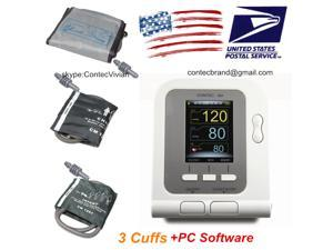 Automatic Upper Arm Digital Blood Pressure Monitor CONTEC08A with 3 BP Cuffs adult,Child,Infant,+PC software