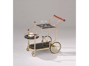 Lacy - Serving Cart Gold Plated & Black Glass