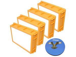 HQRP 4-Pack HEPA Filter for Eureka Boss SmartVac 4870 / 4870MZ / 4870SZ / 4870T / 4870SZX / 4870D / 4870RZ / 4870GZX / 4870HZ / 4870HZ-1 / 4870HZX Upright Vac Vacuum Cleaner + HQRP Coaster