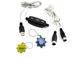 HQRP USB IN-OUT MIDI Interface Cable Converter PC to Music Keyboard Adapter Cord for YAMAHA PSR-225GM 61 Key Educational Keyboard + HQRP UV Meter