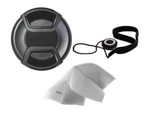 Sony FE PZ 28-135mm f/4 G OSS Lens Cap Center Pinch (95mm) + Lens Cap Holder + Nw Direct Microfiber Cleaning Cloth.