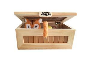 Wooden Useless Box Leave Me Alone Box Most Useless Machine Don't Touch Tiger Toy Gift with Light USB Charging White