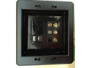 CERTICABLE 110V POWER OUTLET + HDMI + USB + CAT5E + 5 RCA - CUSTOM BLACK DOUBLE WALL PLATE SET