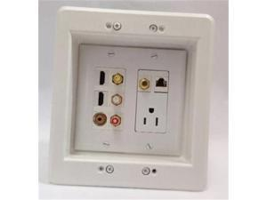 Certicable Custom Designed White Double Gang Recessed Wall Plate - 110V AC POWER OUTLET + 2 HDMI + 3 RCA +  COAX TV + 3.5MM MINI AUDIO + CAT5E RJ45 + RECESSED BOX SET