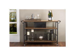 Baxton Studio Lancashire Brown Wood & Metal Kitchen Cart
