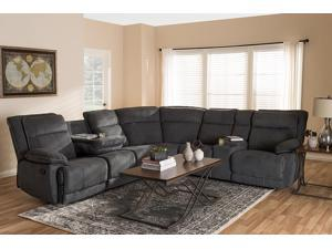 Baxton Studio Sabella Modern and Contemporary Dark Grey and Light Grey Two-Tone Fabric 7-Piece Reclining Sectional