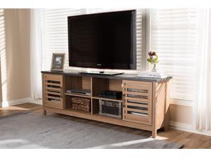 Baxton Studio Pacific Modern and Contemporary Light Brown and Grey Two-Tone Finished 71-Inch TV stand