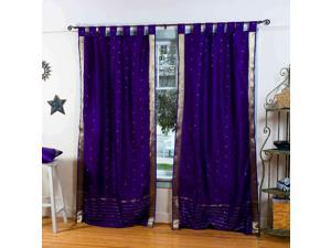 Lined-Purple  Tab Top  Sheer Sari Curtain / Drape / Panel   - 43W x 84L - Piece