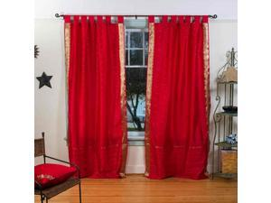 Fire Brick  Tab Top  Sheer Sari Curtain / Drape / Panel   - 60W x 63L - Pair