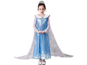 Elsa Dress for Girls – Frozen Princess Costume Kids Cosplay Costumes