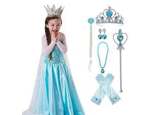 Princess Elsa Costumes Birthday Dress Up for Little Girls with Crown,Wig,Gloves Accessories 2-7 Years