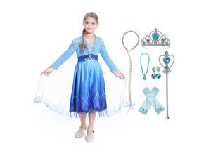 Elsa Act 2 Halloween Costume for Girls, Frozen 2,Includes Accessories