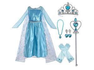 Princess Party Dress Costume Birthday Party Dress Up for Little Girls with Accessories