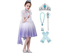 Frozen 2 Elsa Epilogue Dress For Girls, New Movie Princess Dress Up Costume For Halloween Christmas Party, Outfit Fits Sizes 4-6X - For Girls