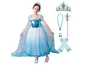 Girls Ice Snow Queen Sequin Princess Upgrade Deluxe Costume