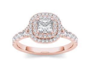 De Couer 14k Rose Gold 7/8ct TDW Diamond Single Frame Solitaire Engagement Ring (H-I, I2)