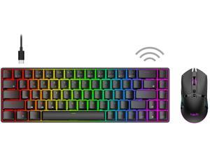Havit 60% Wireless Mechanical Keyboard and Wired Mouse Bluetooth 5.1 & Type C Wired 68 Keys Gaming Keyboard Brown Switch Programmable Gaming Mouse for Multi-Device PC Laptop Gamer (Black)