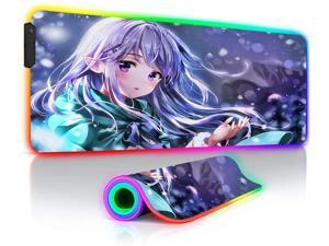 Re Zero Gaming RGB Mouse Pads Large XXL Anime Keyboard Mat Big LED Backlit Gamer PC Desk Play Mat 35.4x15.7_inches