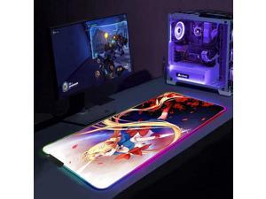 Mouse Pads Anime Sailor Moon Cute Blond Girl RGB Gaming Mouse Pad LED Luminous XXL Non-Slip Mouse Mat for Computer Keyboard 31.5x11.8 inch