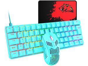 T60 62 Keys Wired Mechanical Gaming Keyboard and Mouse (Not Mute) Combo+Mouse Pad Red Axis,Ultra-Slim Rainbow LED Backlit Keyboard for Desktop, Computer, PC (Blue)