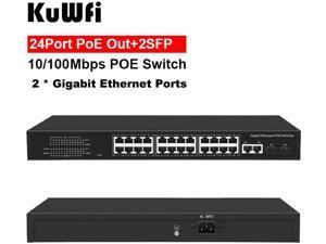 KuWFi 24-Port Ethernet Smart Managed PoE Switch with 24 x 100M Ports + 2 x SFP Ports + 2 x Gigabit Combo Port Intelligent Web for Desktop Rackmount