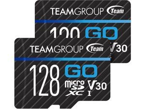 TEAMGROUP GO Card 128GB -2PACK Micro SD Card for GoPro & Action Cameras MicroSDXC UHS-I U3 V30 High Speed Flash Memory Card with Adapter for Outdoor Sports 4K Shooting TGUSDX128GU364