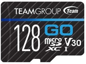 TEAMGROUP GO Card 128GB Micro SD Card for GoPro & Action Cameras MicroSDXC UHS-I U3 V30 High Speed Flash Memory Card with Adapter for Outdoor Sports 4K Shooting TGUSDX128GU303