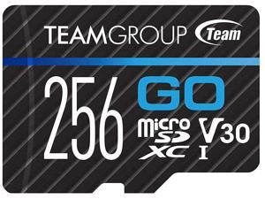 TEAMGROUP GO Card 256GB Micro SD Card for GoPro & Action Cameras MicroSDXC UHS-I U3 V30 High Speed Flash Memory Card with Adapter for Outdoor Sports 4K Shooting TGUSDX256GU303