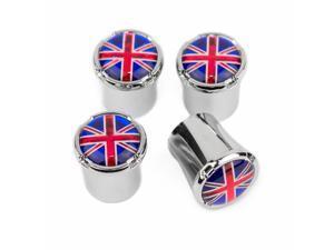 British flag Tire valve caps Silver ABS Plastic