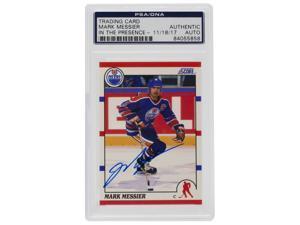 Mark Messier Signed Score #100 Edmonton Oilers Hockey Card PSA/DNA ITP