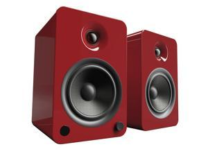 Kanto YU6 Powered Bookshelf Speakers with Bluetooth® and Phono Preamp for Turntable, TVs, PC — Gloss Red